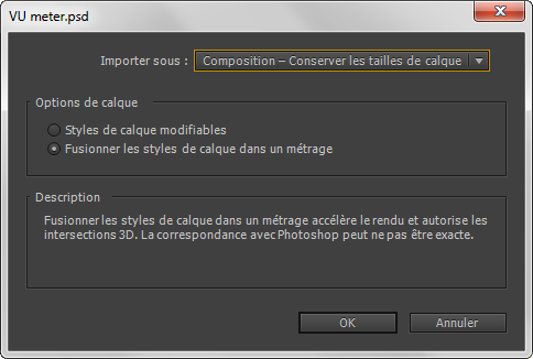 Importer PSD dans une composition After Effects