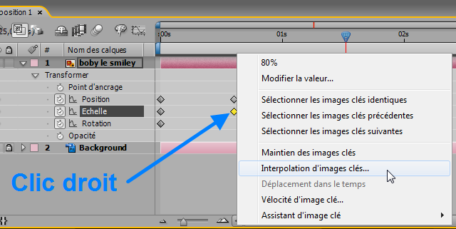Interpolation d'images clé After Effects