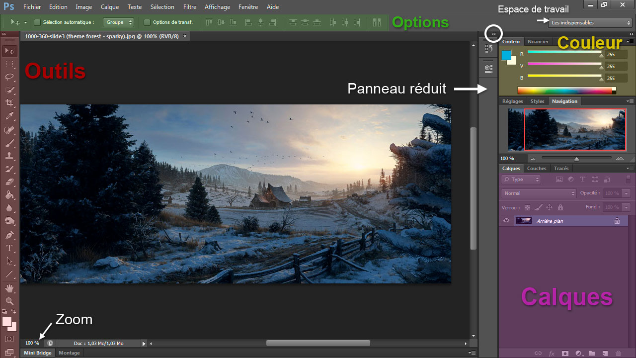 Interface graphique de Photoshop CS6