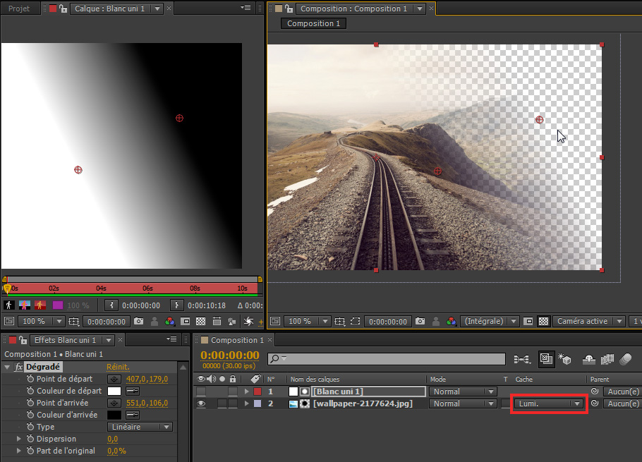 Cache luminance dans After Effects