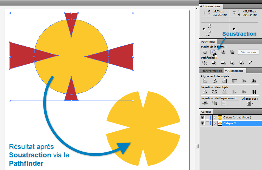 Soustraction avec le Pathfinder dans Illustrator CS4