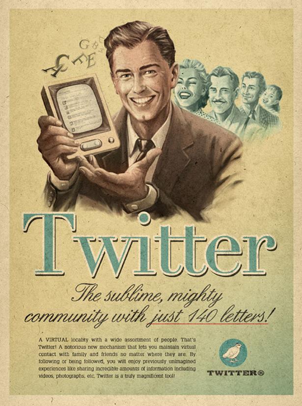 Affiche Twitter vintage